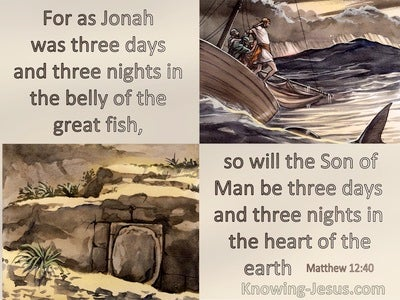 Matthew 12:40 As Jonah Was Three Days And Nights In The Belly Of The Whale  So Also The Son Of Man (beige)
